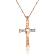 Paragraph Full of Diamond Cross Necklace Long Section 14k Gold plated