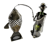 Metal 2 in 1 Fisher Wine Bottle Holder and Big Fish Cork Holder Characters