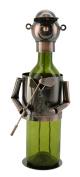 Happy Bronze Golf Player Wine Bottle Holder Character