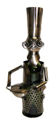 happy Moustache Chef With Pot Metal Wine Bottle Holder Character