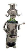 Wine Bottle Holder Miss Lady Chef With Pan Metal Character