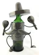 Happy Mexican Fiesta Sombrero and Maracas Dancer Metal Wine Bottle Holder Character
