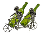 Happy Couple on Tamdem Cruise Bicycle Metal Wine Bottle Holder Character Kitchen Display
