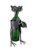 Recycled Steel Owl Holding Barrel Sculptured Wine Bottle Holder