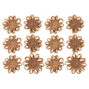 12-Piece Burlap Flower Set - Shabby Chic Flowers, Jute Flowers, Flower Embellishments for Weddings, Interior Decoration, Outdoor Decoration, Brown - 11cm in Diameter