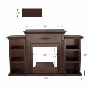 180cm TV Stand Firplace Stand Media Console Bookcase, Espresso