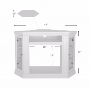 100cm TV Stand Firplace Corner Stand Media Console Bookcase, Ivory