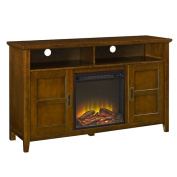 Walker Edison 130cm Rustic Chic Fireplace TV Stand in Coffee