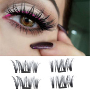 Staron New 0.4mm Ultra-thin Magnetic Fake Eyelashes,4Pcs Magnetic False Eye Lashes 3D Repeat False Magnet Eyelashes Extension