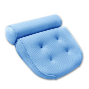 Breathable 3D Mesh Spa Bath Pillow with 4 Suction Cups, Neck & Back Support - Home Hot Tub Spa Pillow - Blue