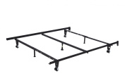 Metal Adjustable Queen, Full, Full XL, Twin, Twin XL, Super Strong Heavy Duty Bed Frame With Centre Support Rail, 7 Legs, 3 Centre Support, 2 Rug Rollers and 2 Locking Wheels