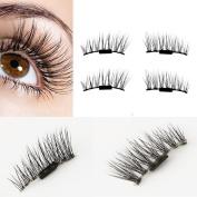 Binmer(TM) Ultra-thin 0.2mm Magnetic Eye Lashes 3D Reusable False Magnet Eyelashes Extension