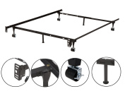 Metal Adjustable Queen, Full, Full XL, Twin, Twin XL, Heavy Duty Bed Frame With 6 Legs, 2 Centre Support, 2 Rug Rollers and 2 Locking Wheels