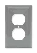 HUBBELL WIRING DEVICE-KELLEMS NP8GY Wall Plate,Duplex,1Gang,Grey