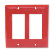 HUBBELL WIRING DEVICE-KELLEMS NP262R Wall Plate,GFCI,2Gang,Nylon,Rd