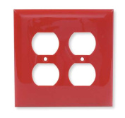 HUBBELL WIRING DEVICE-KELLEMS NP82R Wall Plate,Duplex,2Gang,Red