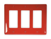 HUBBELL WIRING DEVICE-KELLEMS NP263R Wall Plate,3 Gangs,Red