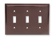 HUBBELL WIRING DEVICE-KELLEMS NP3 Wall Plate,Switch,3Gang,Brown