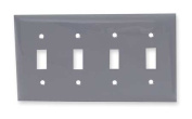 HUBBELL WIRING DEVICE-KELLEMS NP4GY Wall Plate,Switch,4Gang,Grey