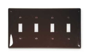 HUBBELL WIRING DEVICE-KELLEMS NP4 Wall Plate,4 Gang,Brown