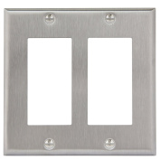 Enerlites 7732 2 Gang Stainless Steel Wall Plate for Decorator Switch, Outlet, GFCI Device
