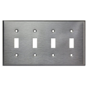 Enerlites 7714 4-Gang Stainless Steel Toggle Switch Wall Plate, Standard Size