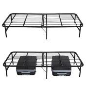 Folding Platform Metal Bed Frame Base Mattress Foundation Twin Size Black ROJE