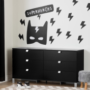 South Shore Spark Black 6-Drawer Double Dresser with Superheroes Wall Decals