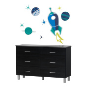 South Shore Cosmos Black Onyx and Turquoise 6-Drawer Double Dresser with Cosmic Wall Decals