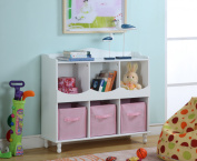 White & Pink Wood Kids Storage Cubby Display Cabinet With Shelves & Fabric Bins