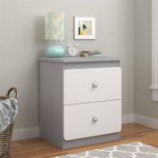 Cosco Willow Lake Nightstand with Drawers, Light Slate Grey/White