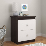Cosco Willow Lake Nightstand, Coffee House Plank and White