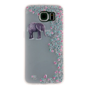 Samsung Galaxy S6 Case, Samsung Galaxy S6 Soft Case, Cosy Hut® Soft TPU Cover Slim Fit Ultra Thin Anti-Scratch Shock Absorption Protective Back Case Cover Shell for Samsung Galaxy S6, Elephant Flowers Pattern Design Cover Case for Samsung Galaxy S6 ( G ..