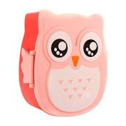LanLan Cute Owl Students Plastic Fresh-keeping Box Sealed Microwave Bento Box 800-1000ML Pink