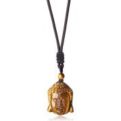 COAI Adjustable Genuine Tiger Eye Buddha Head Prayer Mala Stone Pendant Necklace