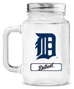 Detroit Tigers Mason Jar Glass With Lid