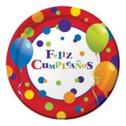 Hoffmaster Group 425037 Feliz Cumpleanos Dinner Plate, Pack of 12 - 8 Per Pack