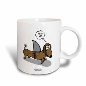 3dRose Weiner Dog with a Sharks Fin, Ceramic Mug, 330ml