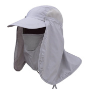Fashion Summer Outdoor Sun Protection Fishing Cap, Neck Face Flap Hat Wide Brim for Fishing Hiking Garden Work Outdoor Activities