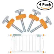 Yakamoz 4pcs Pressure Mounted Baby Gates Threaded Spindle Rods, Walk Thru Gates Accessory Screw Bolts Kit - M10 x 10MM, Yellow