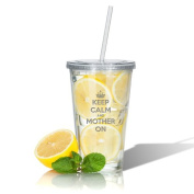 "Carved Solutions ""Keep Calm and Mother On"" 560ml Insulated Tumbler"