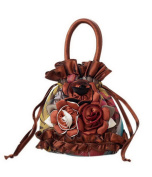 Ethnic Style Handbag Embroidered Portable Small Canvas Bag Mini Coin Purse Brown