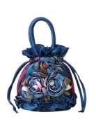 National Wind Handbag Embroidered Portable Canvas Bag Mini Coin Purse Royal Blue
