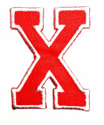 Red Alphabet Letter X patch Kids Learning School ABC Iron On patch Ideal for adorning your jeans, hats, bags, jackets and shirts.