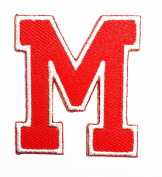 Red Alphabet Letter M patch Kids Learning School ABC Iron On patch Ideal for adorning your jeans, hats, bags, jackets and shirts.