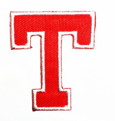 Red Alphabet Letter T patch Kids Learning School ABC Iron On patch Ideal for adorning your jeans, hats, bags, jackets and shirts.