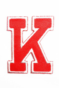 Red Alphabet Letter K patch Kids Learning School ABC Iron On patch Ideal for adorning your jeans, hats, bags, jackets and shirts.