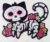 Custom and Unique (10cm x 8.1cm Inch) Holiday Spooky Day of The Dead Sugar Skeleton Dead Feline Cat Iron On Embroidered Applique Patch {White, Pink, & Green Colours}