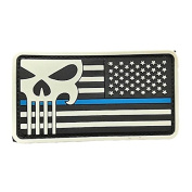 Thin Blue Line American Flag (Right Arm) Punisher PVC Rubber Patch with Hook and loop by Backwoods Barnaby