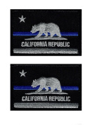 California CA State Flag thin blue line Police tactical Swat Hook Patch